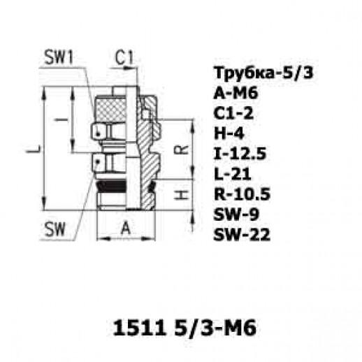Цена фитинга Фитинг прямой 1511 5/3-M6