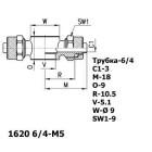 Цена на фитинг Серьга поворотная 1620 6/4-M5 1620 6/4-M5