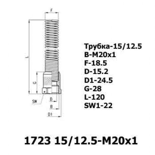 Цена фитинга Накидная гайка с защитной пружиной 1723 15/12.5-M20x1
