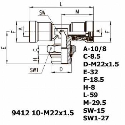 Цена фитинга Фитинг тройник горизонтальный 9412 10-M22x1.5