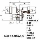 Цена на фитинг Фитинг тройник горизонтальный 9412 12-M16x1.5 9412 12-M16x1.5