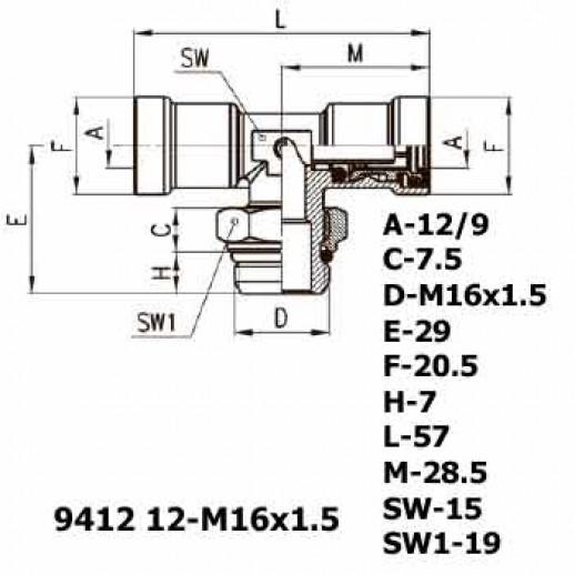 Цена фитинга Фитинг тройник горизонтальный 9412 12-M16x1.5