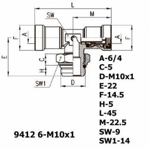 Цена фитинга Фитинг тройник горизонтальный 9412 6-M10x1
