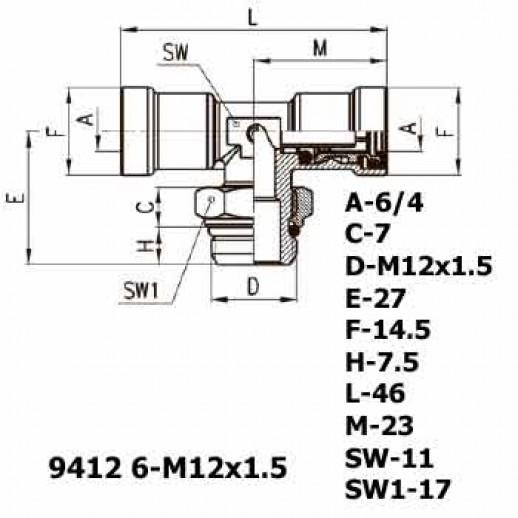 Цена фитинга Фитинг тройник горизонтальный 9412 6-M12x1.5