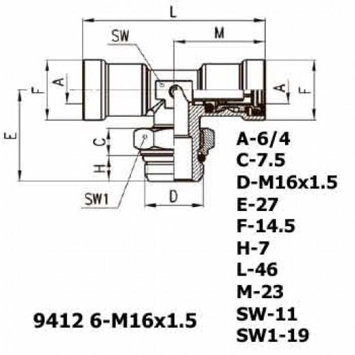 Цена фитинга Фитинг тройник горизонтальный 9412 6-M16x1.5