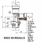 Цена на фитинг Фитинг тройник вертикальный 9422 10-M22x1.5 9422 10-M22x1.5