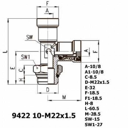 Цена фитинга Фитинг тройник вертикальный 9422 10-M22x1.5