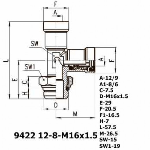 Цена фитинга Фитинг тройник вертикальный 9422 12-8-M16x1.5
