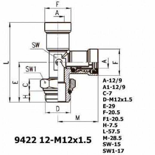Цена фитинга Фитинг тройник вертикальный 9422 12-M12x1.5