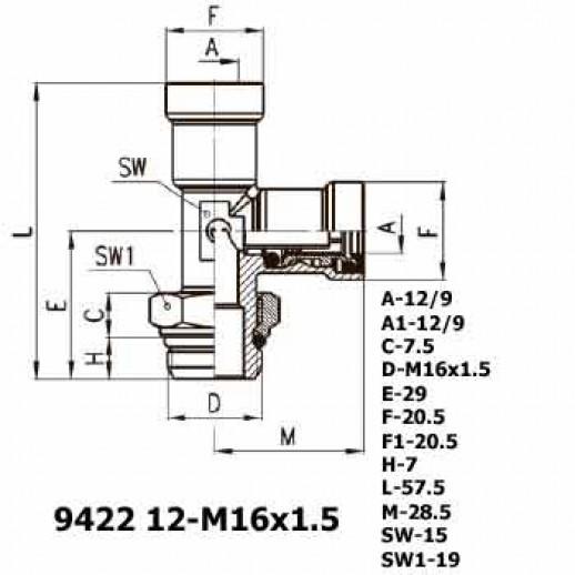 Цена фитинга Фитинг тройник вертикальный 9422 12-M16x1.5