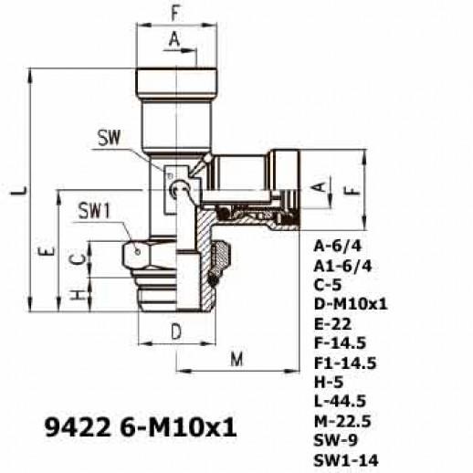 Цена фитинга Фитинг тройник вертикальный 9422 6-M10x1