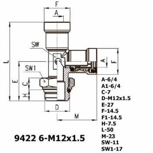 Цена фитинга Фитинг тройник вертикальный 9422 6-M12x1.5