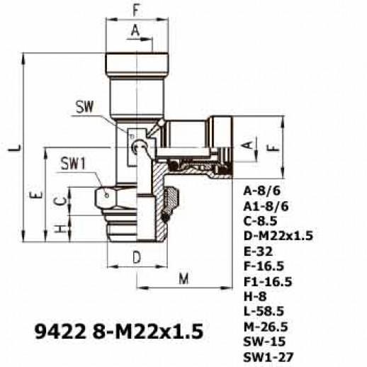 Цена фитинга Фитинг тройник вертикальный 9422 8-M22x1.5