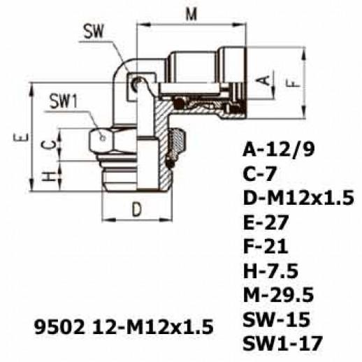 Цена фитинга Фитинг угловой 9502 12-M12x1.5
