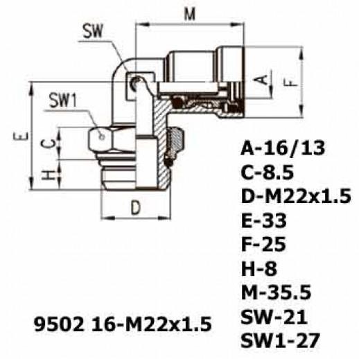 Цена фитинга Фитинг угловой 9502 16-M22x1.5