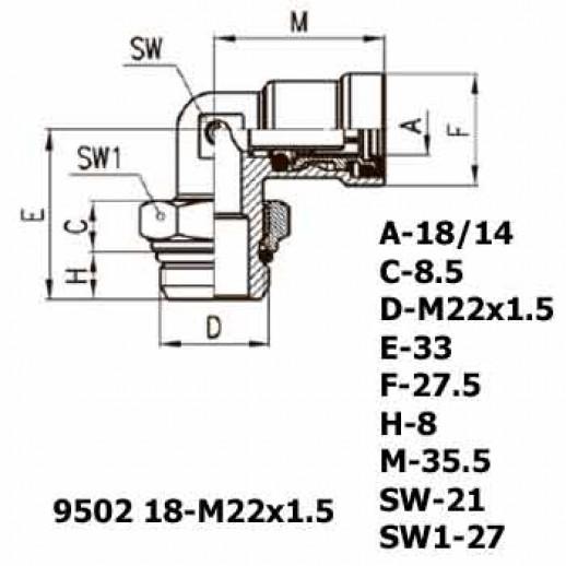 Цена фитинга Фитинг угловой 9502 18-M22x1.5