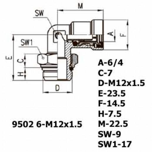 Цена фитинга Фитинг угловой 9502 6-M12x1.5