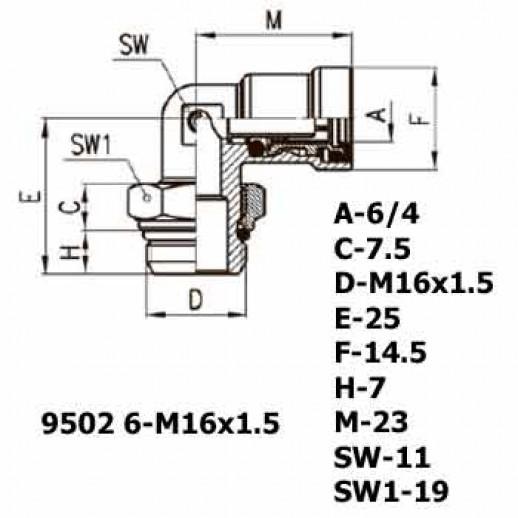 Цена фитинга Фитинг угловой 9502 6-M16x1.5
