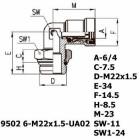 Цена на фитинг Фитинг угловой 9502 6-M22x1.5-UA02 9502 6-M22x1.5-UA02