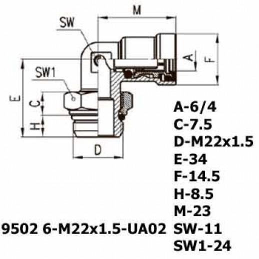 Цена фитинга Фитинг угловой 9502 6-M22x1.5-UA02