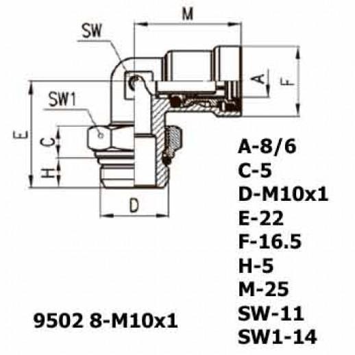 Цена фитинга Фитинг угловой 9502 8-M10x1