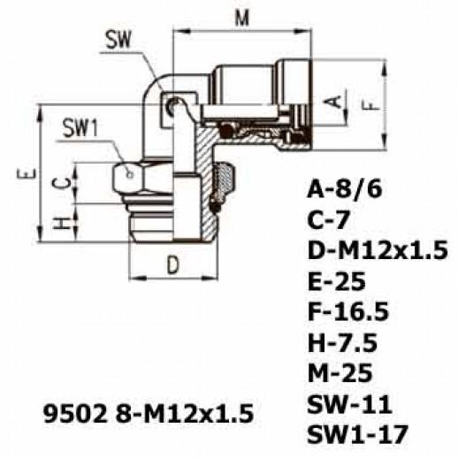 Цена фитинга Фитинг угловой 9502 8-M12x1.5