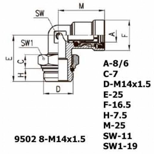 Цена фитинга Фитинг угловой 9502 8-M14x1.5