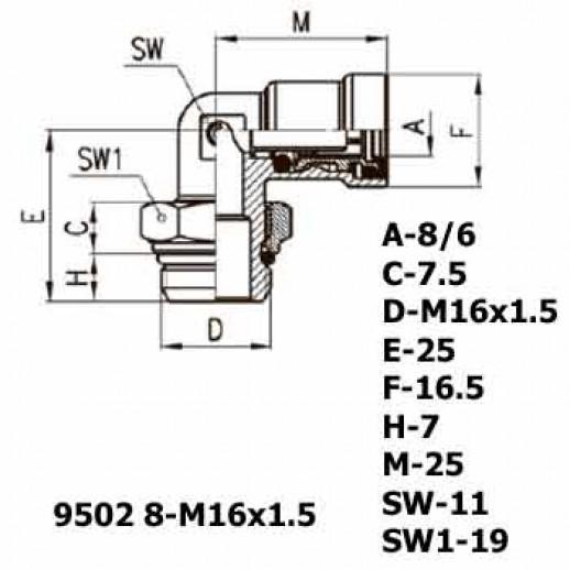 Цена фитинга Фитинг угловой 9502 8-M16x1.5