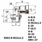 Цена на фитинг Фитинг угловой 9502 8-M22x1.5 9502 8-M22x1.5