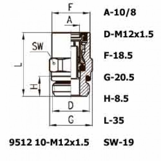 Цена фитинга Фитинг прямой 9512 10-M12x1.5