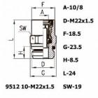 Цена на фитинг Фитинг прямой 9512 10-M22x1.5 9512 10-M22x1.5