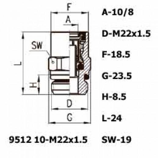 Цена фитинга Фитинг прямой 9512 10-M22x1.5