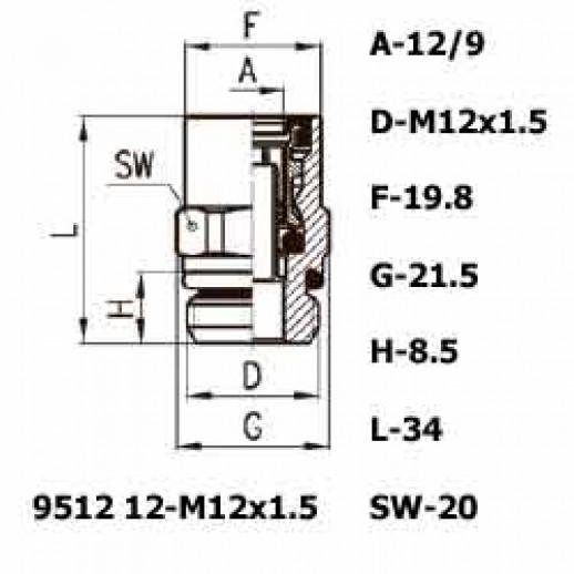 Цена фитинга Фитинг прямой 9512 12-M12x1.5