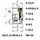 Цена на фитинг Фитинг прямой 9512 12-M16x1.5 9512 12-M16x1.5