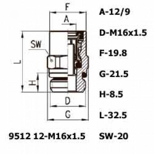 Цена фитинга Фитинг прямой 9512 12-M16x1.5