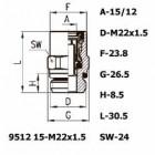 Цена на фитинг Фитинг прямой 9512 15-M22x1.5 9512 15-M22x1.5