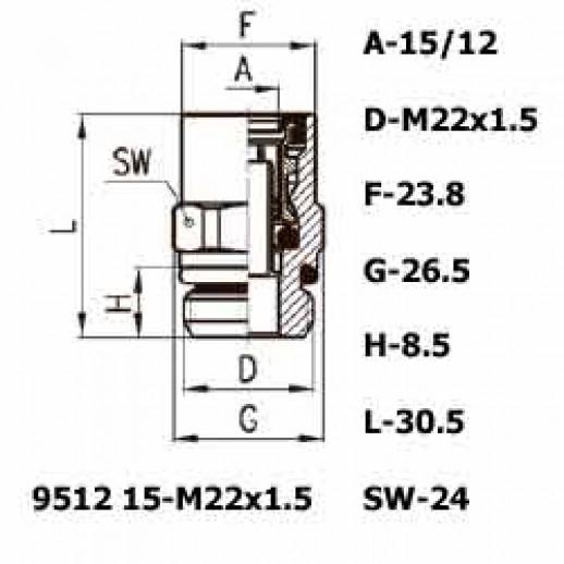 Цена фитинга Фитинг прямой 9512 15-M22x1.5
