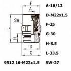 Цена на фитинг Фитинг прямой 9512 16-M22x1.5 9512 16-M22x1.5
