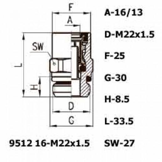 Цена фитинга Фитинг прямой 9512 16-M22x1.5