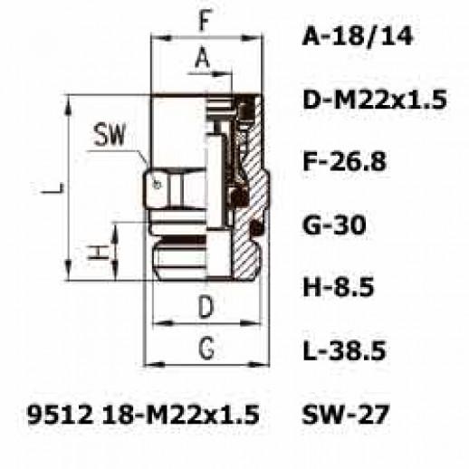 Цена фитинга Фитинг прямой 9512 18-M22x1.5