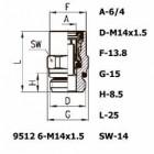 Цена на фитинг Фитинг прямой 9512 6-M14x1.5 9512 6-M14x1.5