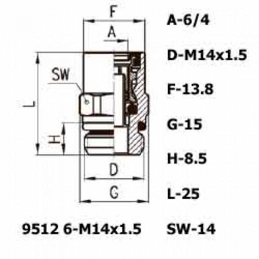 Цена фитинга Фитинг прямой 9512 6-M14x1.5