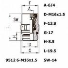 Цена на фитинг Фитинг прямой 9512 6-M16x1.5 9512 6-M16x1.5