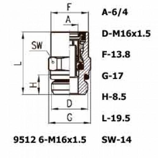 Цена фитинга Фитинг прямой 9512 6-M16x1.5