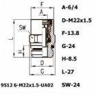 Цена на фитинг Фитинг прямой 9512 6-M22X1.5-UA02 9512 6-M22X1.5-UA02