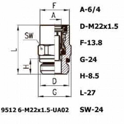 Цена фитинга Фитинг прямой 9512 6-M22X1.5-UA02