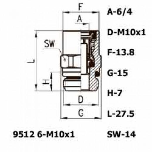 Цена фитинга Фитинг прямой 9512 6-M10x1