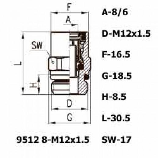 Цена фитинга Фитинг прямой 9512 8-M12x1.5