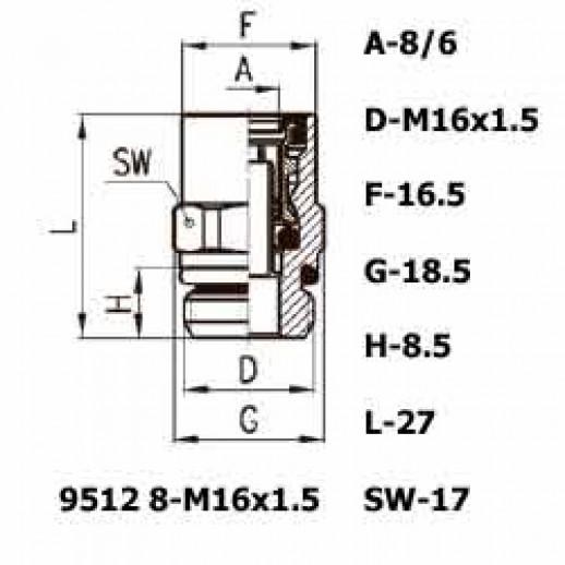 Цена фитинга Фитинг прямой 9512 8-M16x1.5