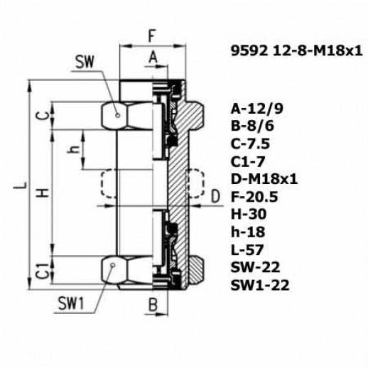 Цена фитинга Фитинг переходник 9592 12-8-M18X1